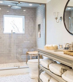 from cream to grey small bathroom remodel