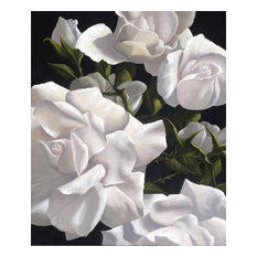 """""""White Roses"""" Canvas Painting by H. Hargrove, 16""""x12"""""""