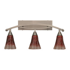 "Bow 3 Light Bath Bar In Brushed Nickel, 5.5"" Raspberry Crystal Glass"