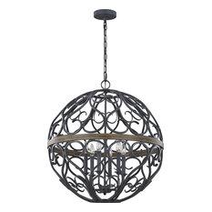 Avila 6-Light Chandelier, Weathered Zinc/Weathered Oak