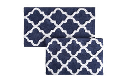 2-Pc Trellis Pattern Bathroom Mat Set in Navy