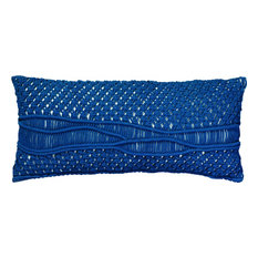 Indio Macrame Pillow, Navy