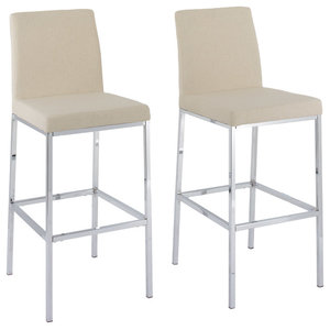 Huntington Beige Fabric Bar Stools With Chrome Legs, Set of 2