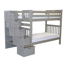 BunkBedKing - Bedz King Bunk Beds Tall Twin Over Twin Stairway With 4 Step Drawers, Gray - Bunk Beds