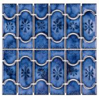 "12.25""x12.5"" Tryall Porcelain Mosaic Floor/Wall Tile, Sapphire"