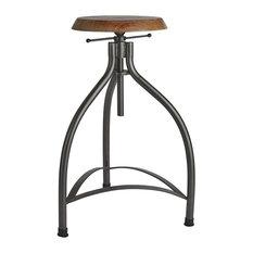 Turner Adjustable Copper Bar Stool, Wooden Seat