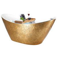 "67"" Freestanding Modern Acrylic Glossy Gold Soaking Tub"