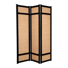 6' Tall Jute Shoji Screen, 3 Panel, Black