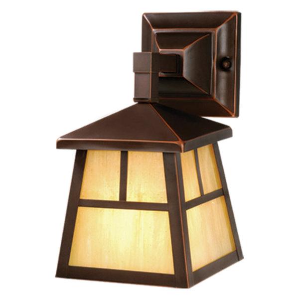 Mission 1 Light Bronze Rectangle Outdoor Wall Lantern Honey Glass