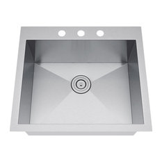 "Exclusive Heritage 25""x22"" Single Bowl Topmount Stainless Steel Kitchen Sink"