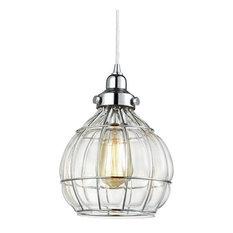 Clear glass dome pendant lighting houzz light go modern clear glass dome kitchen pendant chrome wire hanging light fixture pendant aloadofball Gallery