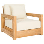 Safavieh - Safavieh Montford Teak Armchair - The sleek angles and minimalist style of this contemporary teak armchair transform any outdoor living area into a modern oasis. Crafted with solid wood, its cut-out arms and back frame its neutral off-white upholstery. Designers use year-round in pairs.