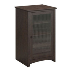 Pemberly Row Audio Cabinet Bookcase In Madison Cherry