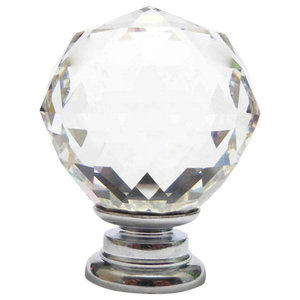 Medium Clear Crystal Cut Faceted Glass Knob