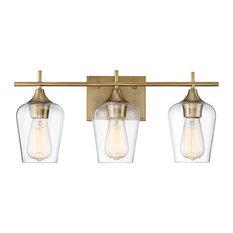 Octave 2-Light Vanity Fixture, Warm Brass, 3-Light