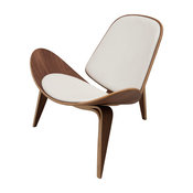 Artemis American Walnut Lounger Chair, Seat: White, Material: Leather