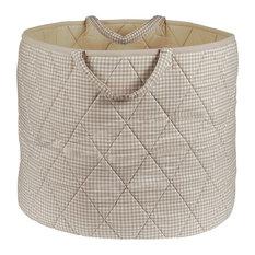 Neutral Gingham Toy Basket