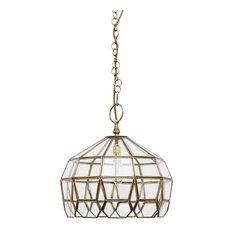 Zara Brass Ceiling Pendant, Clear Glass