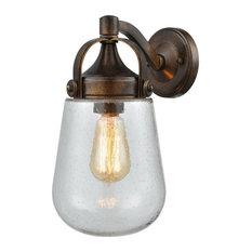Exposed Bulb Nautical One Light Outdoor Wall Lantern - Coastal Urn Shaped Porch