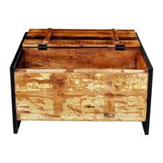 SIT Möbel   Trunk Coffee Table, Vintage Wood And Distressed Metal With 5  Drawers
