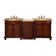 Silkroad Exclusive   Caulfield Double Sink Bathroom Vanity, Travertine With  LED Light Top,