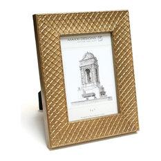"Ravenna Frame, Gold And Argyle Pattern, 4""x6"""