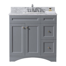 "Virtu Elise 36"" Single Bathroom Vanity, Gray With Marble Top And Round Sink"