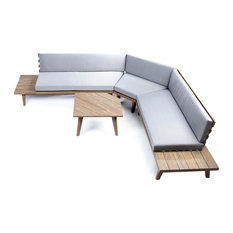 GDFStudio - Hillside Outdoor V Shaped 4-Piece Sectional Sofa Set, Gray Finish, Gray - Outdoor Lounge Sets