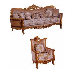 European Furniture - Modigliani III 2 Piece Luxury Sofa Set In Ikat And Gold - 3