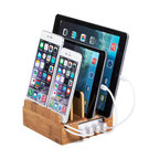 Compact Charging Station With Integrated 4-Port USB, Eco-Friendly Bamboo, Withou