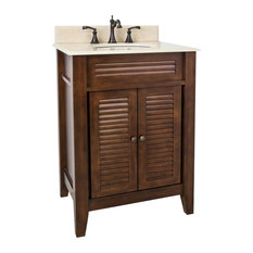 Lindley Vanity with Preassembled Cream Marble Top and Bowl, Painted Nutmeg