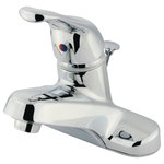 Kingston Brass - Water Saving Wyndham Centerset Lavatory Faucet, Polished Chrome - The Wyndham Centerset Lavatory is an excellent choice for a replacement in a home or apartment. The single handle operates easily, turning freely without any issue. This faucet is constructed from brass to ensure its quality and durability. It also includes an brass pop-up drain . This faucet will match a variety of decor styles because of its simplistic design. Faucet installs on standard US plumbing connections.