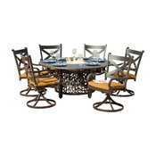 Avondale 6-Person Cast Aluminum Patio Dining Set With Fire Pit Table