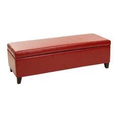 Shop Red Striped Ottoman on Houzz