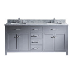 72-inch Double Bath Vanity In GreyMarble Top And Square SinkPolished Chrome Faucet