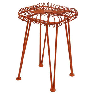 Red Iron Industrial Stool
