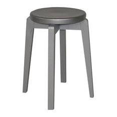 Handmade Solid Wood Retro Stool, Silver Lacquer