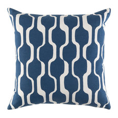 Surya Modern Cotton Navy and White Accent Pillow, 18  x18