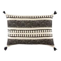 "Nikki Chu by Jaipur Living Fala Cream/Black Geometric Down Throw Pillow 16x24"""