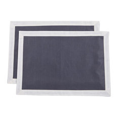 Bauhaus Placemats, Midnight Blue With Ivory Trim, Set of 2