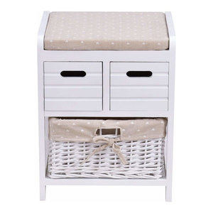 Bedside Table, White Finished Wood With Rattan Storage Basket and Open Shelf