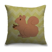 """Squirrel - Woodland Creatures"" Pillow 16""x16"""