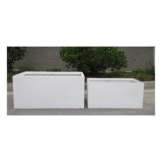 Contemporary White Light Concrete Trough Planter H37.5 L80 W37 cm