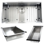 """Nantucket Sinks - Nantucket Sinks' ZR-PS-3620-16 - 36"""" Pro Series Large Prep Station Single - A full 36 inches wide with ledges for your accessories will help you with kitchen tasks!  This zero-radius sink is designed with different tiered levels at its edges which allows  maximum efficiency.   The sink's stainless steel rinse tray can fit horizontally or vertically to give you an additional work space which is easy to wash , rinse or store items or food. The colander can be used to help hold and rinse glassware, utensils or produce.  The bottom grid with rubber feet protect the basin's shine and allow water to flow to the drain.  The deep, large single bowl allows plenty of space to soak and clean large cookware and bakeware.  And the beveled bottom channels water to the drain. The included colander drain helps to collect food debris.  Brushed satin finish helps to camaflouge scratches.  The 16 gauge thickness and premium T304 stainless will last a lifetime!"""