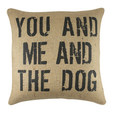 """You and Me and the Dog"" Burlap Pillow, Black"