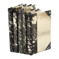 Metallic Hide Books, Black and Gold, Set of 5