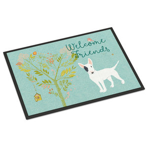 Welcome Friends White Patched Bull Terrier Indoor or Outdoor Mat, 24x36