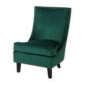 GDF Studio Adette Velvet High Back Studded Edge Club Chair, Dark Green