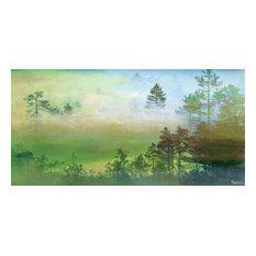"""""""Misty Pine Forest"""" Canvas Print by Parvez Taj, 45x91 Cm"""