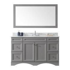 """Talisa 60"""" Single Bathroom Vanity,Grey,Marble Top,Round Sink,Faucet,Mirror"""